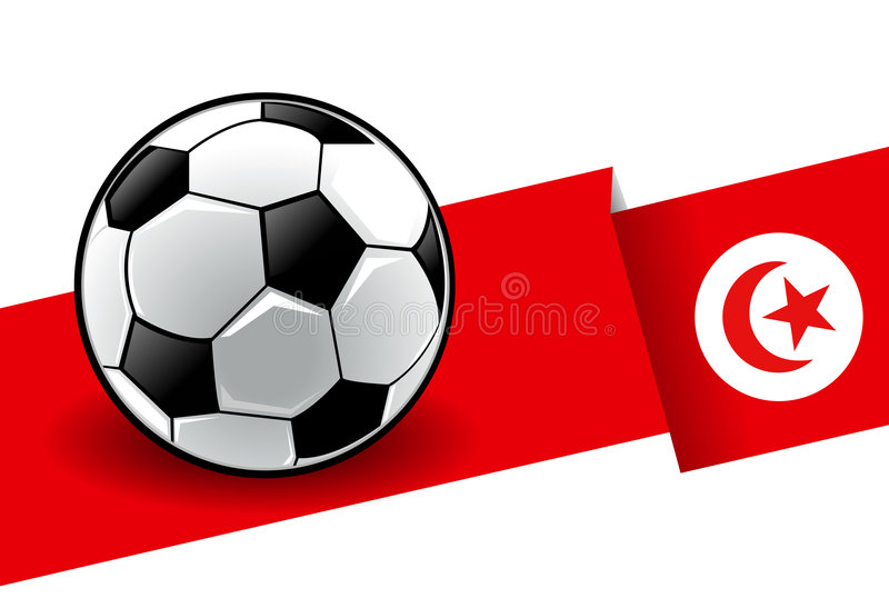 Voetbal met vlag - Tunesië royalty-vrije illustratie