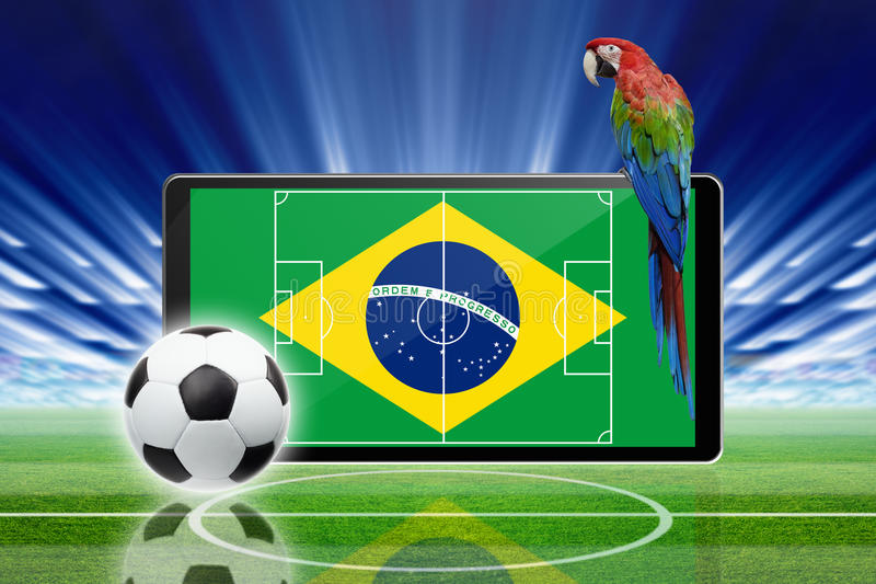 Voetbal online, het voetbal van Brazilië vector illustratie