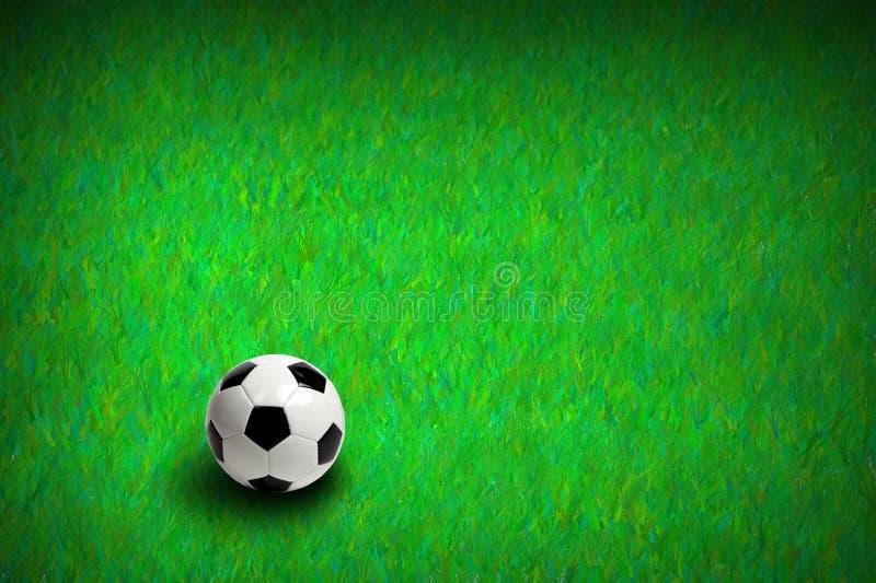Voetbal op groen gras stock foto's