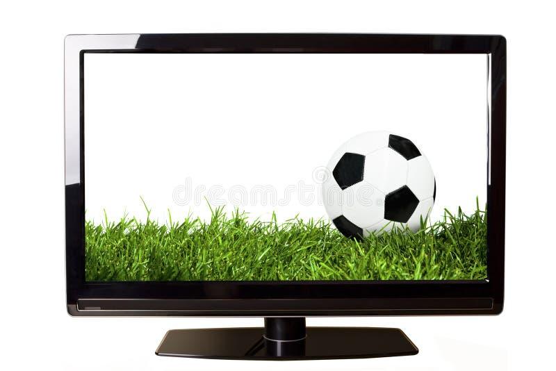 Voetbal op TV royalty-vrije stock afbeelding