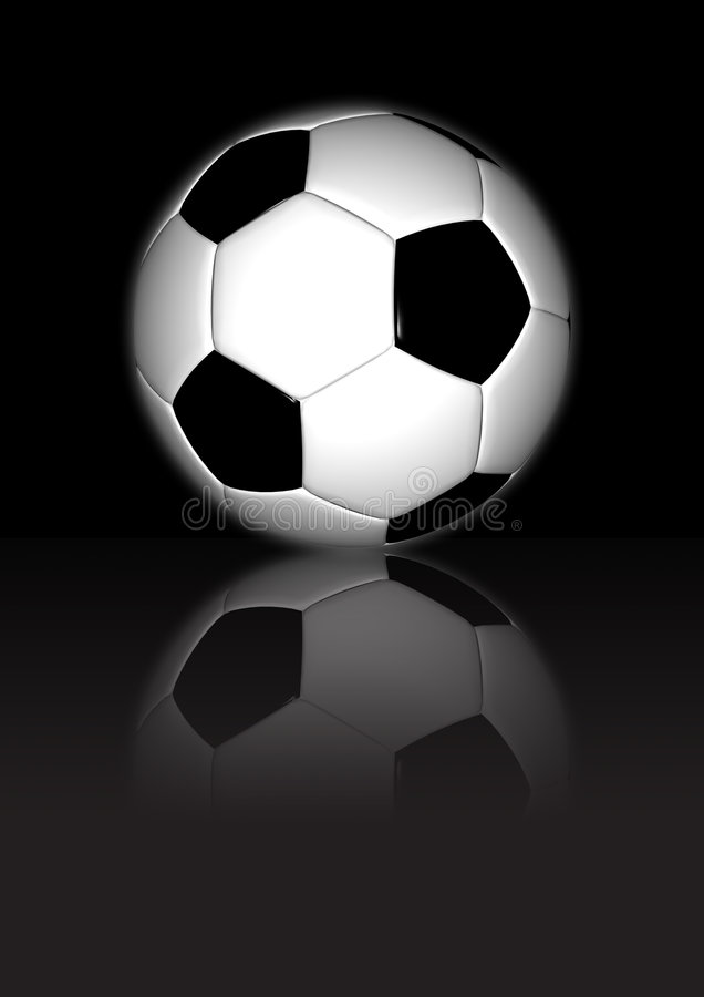 Voetbal - op Zwarte Weerspiegelende Achtergrond stock illustratie