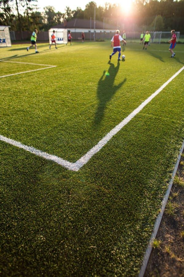 Voetbal opleiding op een fotballhoogte royalty-vrije stock foto's