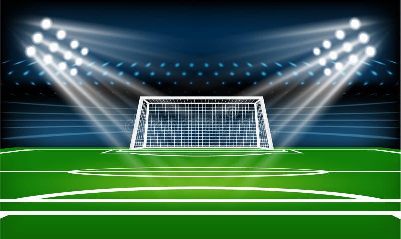 Voetbal of voetbal speelgebied Het spel van de sport De schijnwerper van het voetbalstadion en de scorebordachtergrond met schitt vector illustratie