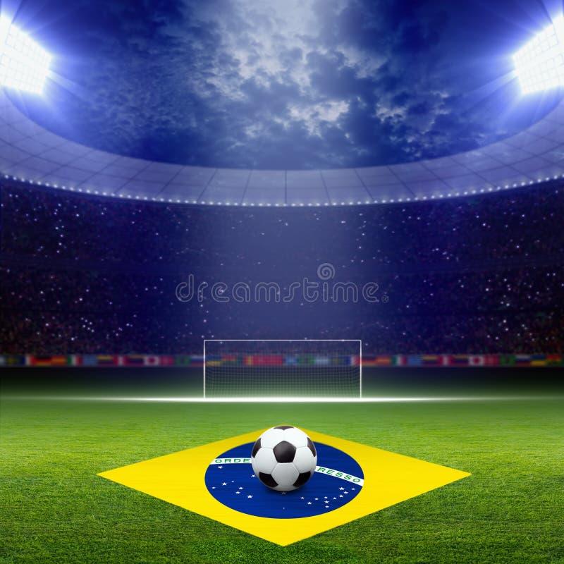 Voetbal staduim, de vlag van Brazilië vector illustratie