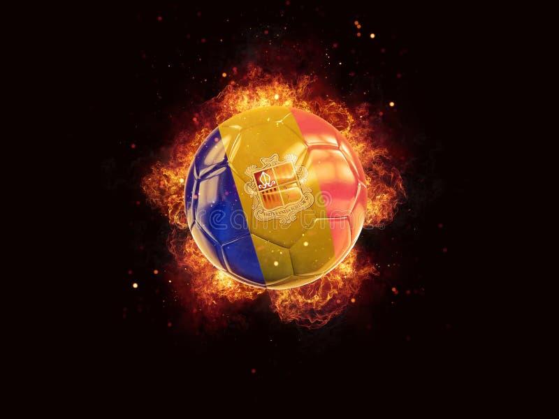 Voetbal in vlammen met vlag van Andorra royalty-vrije illustratie