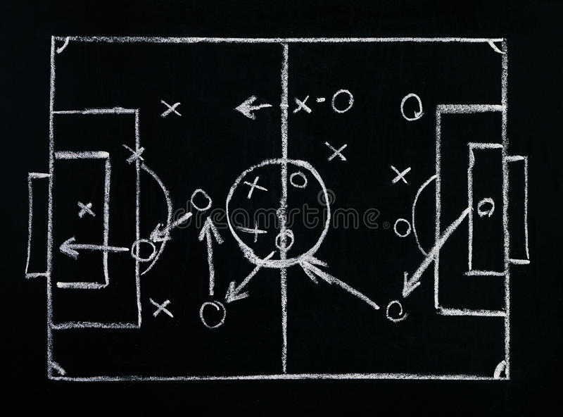 Voetbal of voetbal het plan van de spelstrategie op bord royalty-vrije stock foto