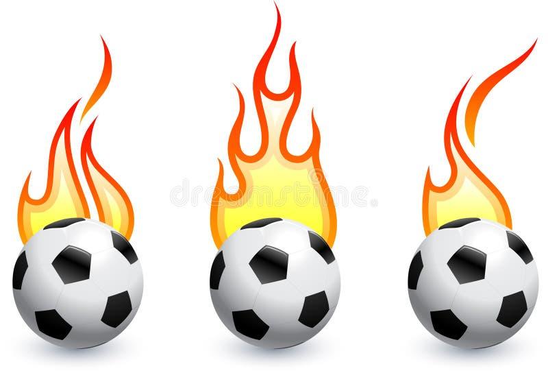 Voetbal (voetbal) op brand vector illustratie