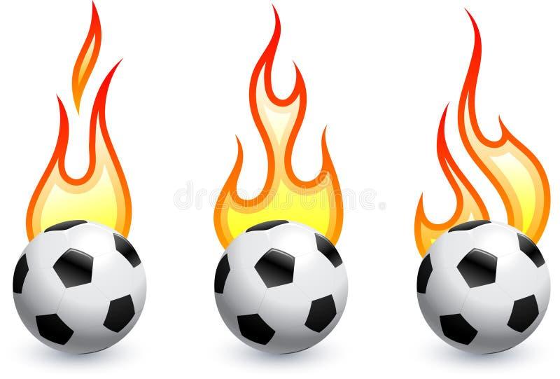 Voetbal (voetbal) op brand stock illustratie