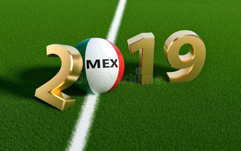 Voetbal 2019 - Voetbalbal in de vlagontwerp van Mexico op een voetbalgebied Voetbalbal die 0 in 2019 vertegenwoordigen royalty-vrije illustratie