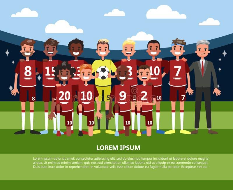 Voetbal of voetballerteam die zich in eenvormige sport bevinden royalty-vrije illustratie