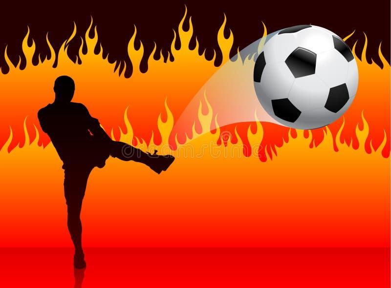 Voetbal/Voetbalster op de Achtergrond van de Brand van de Hel stock illustratie