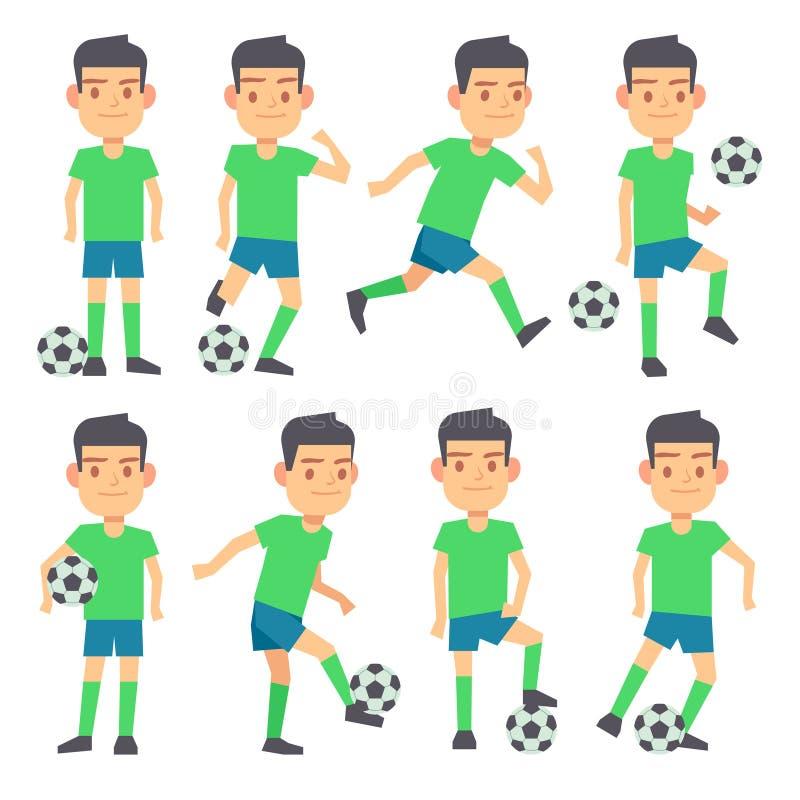 Voetbal, voetbalsters die balreeks vector vlakke karakters spelen royalty-vrije illustratie