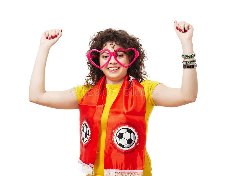 Voetbal of voetbalvrouwenventilator stock foto