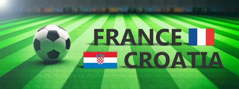 Voetbal, voetbalwedstrijd, Frankrijk versus Kroatië, 3d illustratie stock illustratie