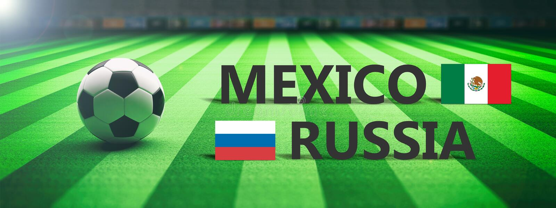 Voetbal, voetbalwedstrijd, Mexico versus Rusland, 3d illustratie royalty-vrije illustratie