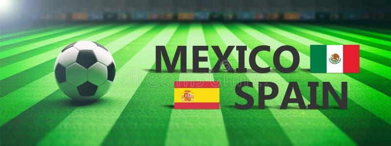 Voetbal, voetbalwedstrijd, Mexico versus Spanje, 3d illustratie stock illustratie