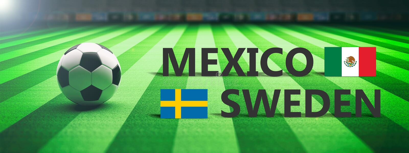 Voetbal, voetbalwedstrijd, Mexico versus Zweden, 3d illustratie royalty-vrije illustratie