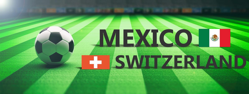 Voetbal, voetbalwedstrijd, Mexico versus Zwitserland, 3d illustratie vector illustratie