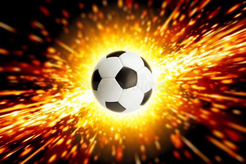 Voetbalbal in brand stock illustratie
