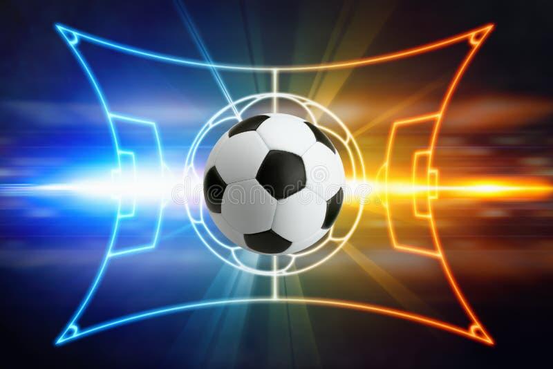 Voetbalbal, de lay-out van het voetbalgebied, heldere blauw en rode lichten stock illustratie