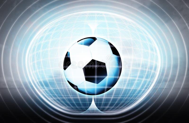 Voetbalbal die in energiecapsule als wetenschapsproject wordt geplakt royalty-vrije illustratie