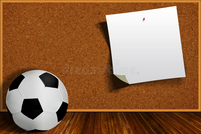 Voetbalbal en Cork Board With Copy Space vector illustratie