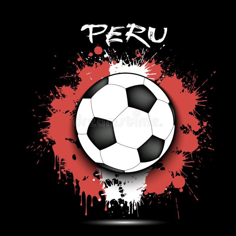 Voetbalbal en de vlag van Peru stock illustratie