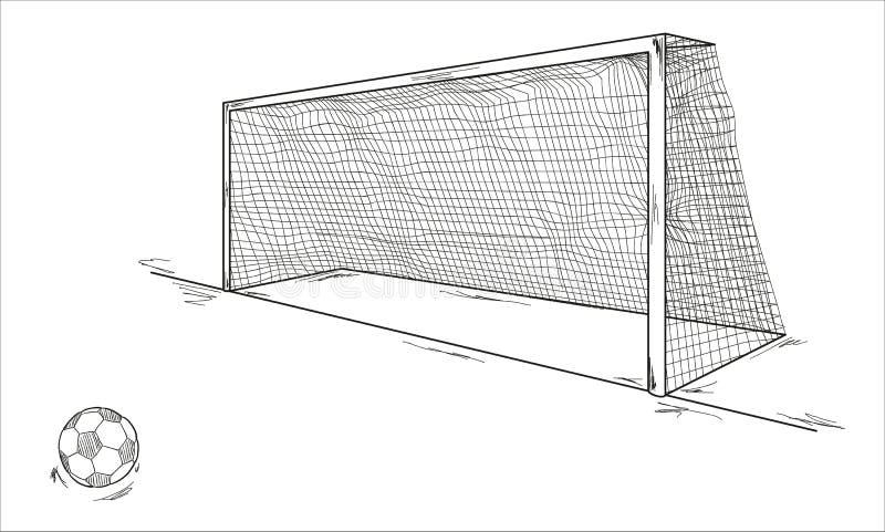 Voetbalbal en doel stock illustratie