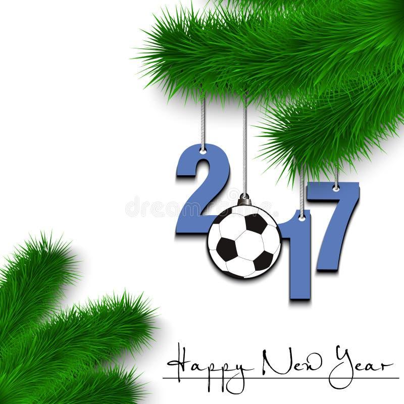 Voetbalbal en 2017 op een Kerstboomtak stock illustratie