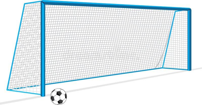 Voetbalbal en poort op het wit wordt geïsoleerd dat vector illustratie