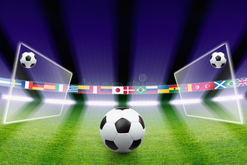 Voetbalbal, gebied, licht stock illustratie