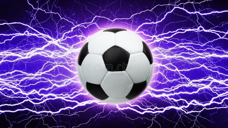 Voetbalbal, heldere bliksem vector illustratie