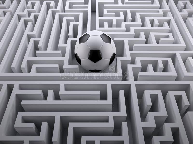 Voetbalbal in het labyrintlabyrint stock afbeelding