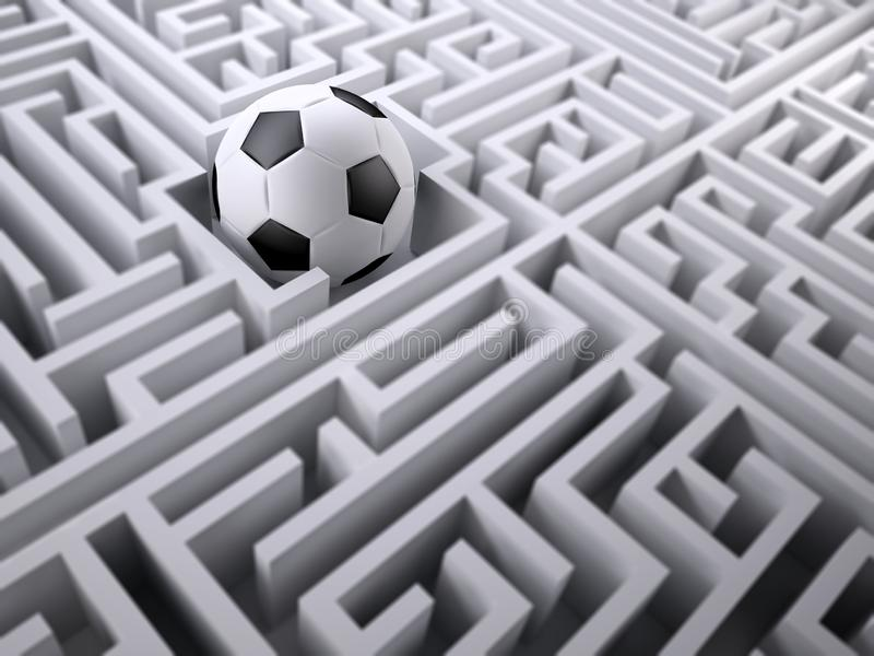 Voetbalbal in het labyrintlabyrint royalty-vrije stock fotografie