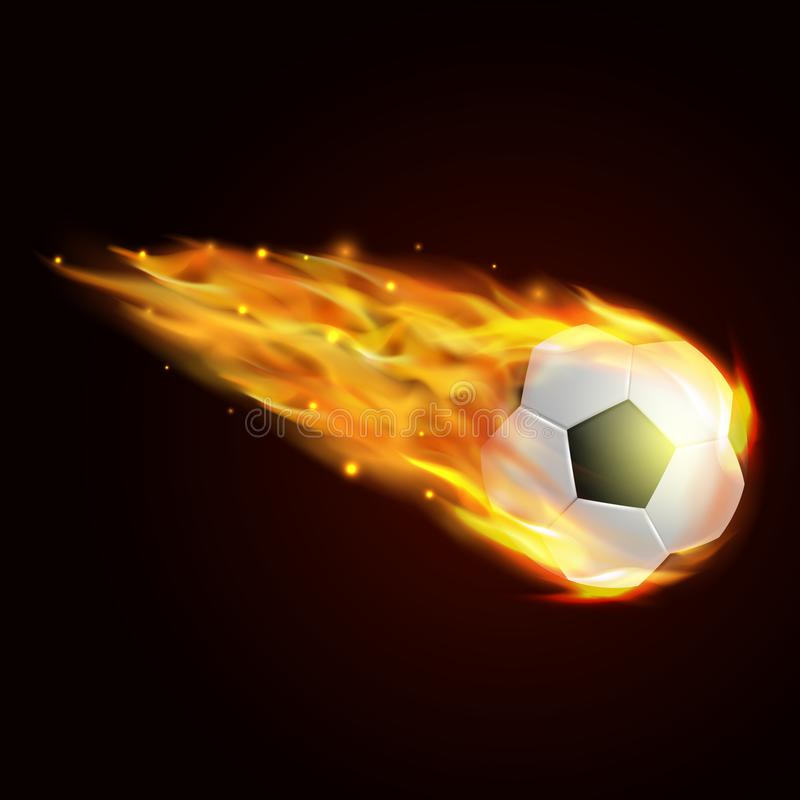 Voetbalbal met brandeffect illustratie stock illustratie