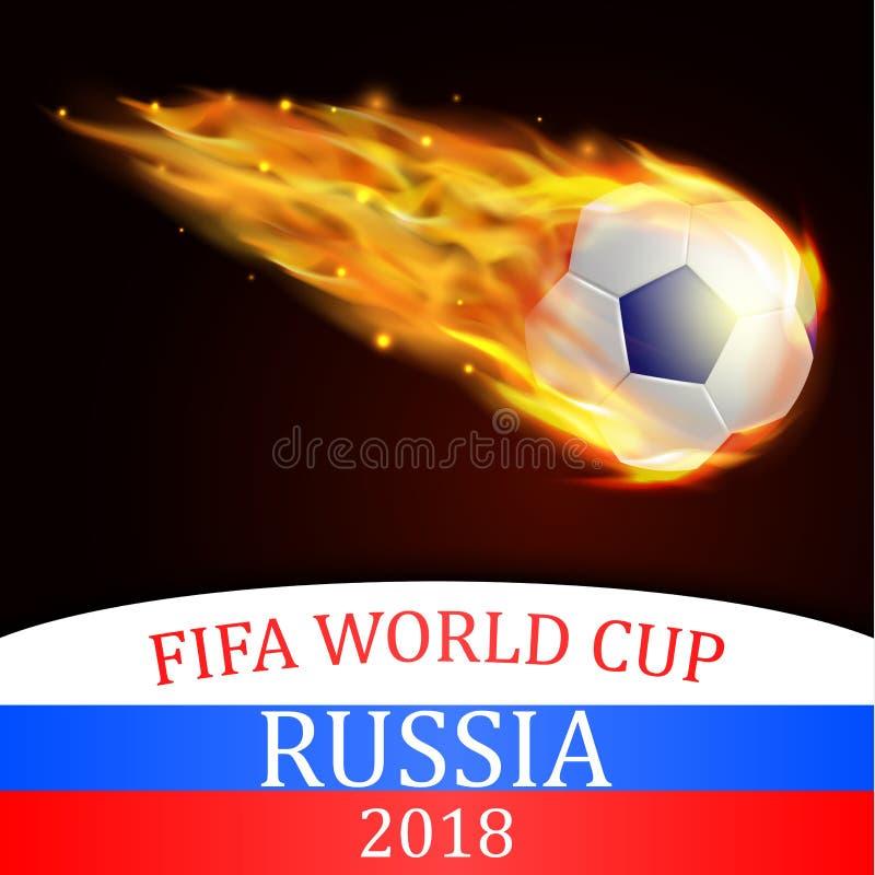 Voetbalbal met brandeffect illustratie royalty-vrije illustratie