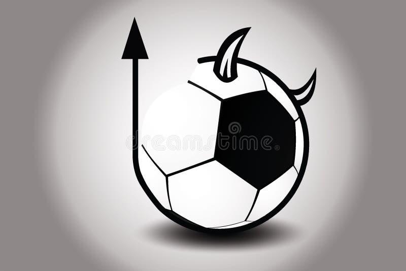 Voetbalbal met de hoorn en de staart van de duivel Vector illustratie royalty-vrije stock foto's