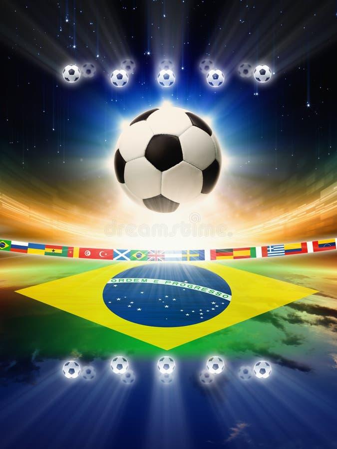 Voetbalbal met de vlag van Brazilië royalty-vrije illustratie