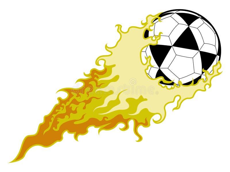 Voetbalbal met een brandeffect stock illustratie