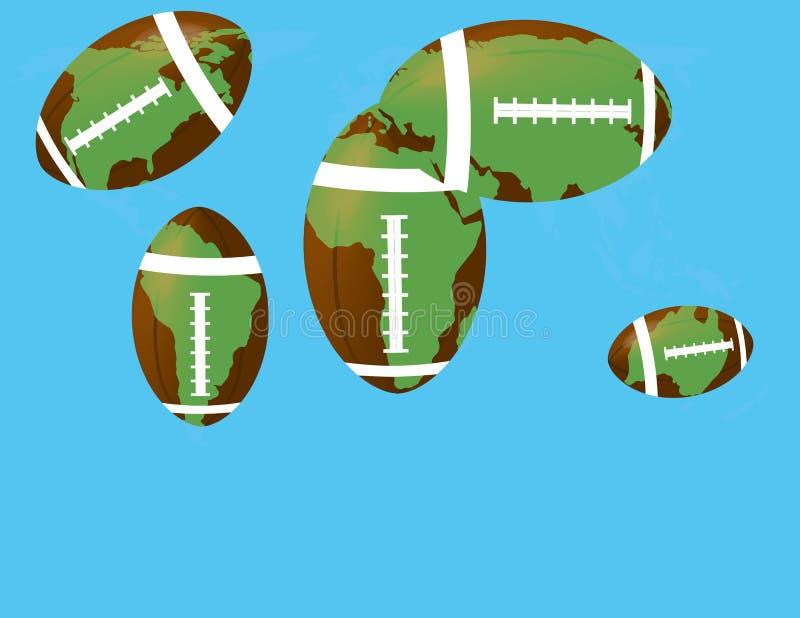 Voetbalbal met het vasteland stock illustratie