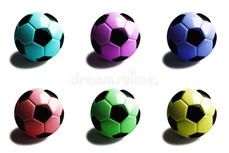 Voetbalbal met schaduw in zes kleuren: cyaan, magenta, blauw, rood, groen, geel Geïsoleerd op wit 3d geef terug stock illustratie