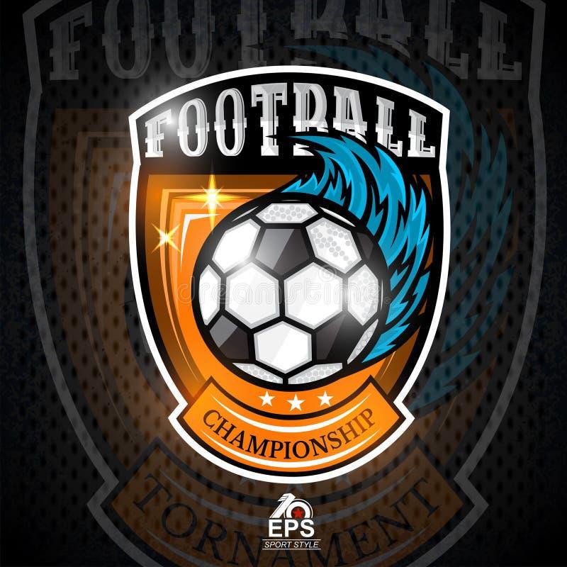 Voetbalbal met wind blauwe sleep in centrum van schild Sportembleem voor om het even welke voetbal stock illustratie