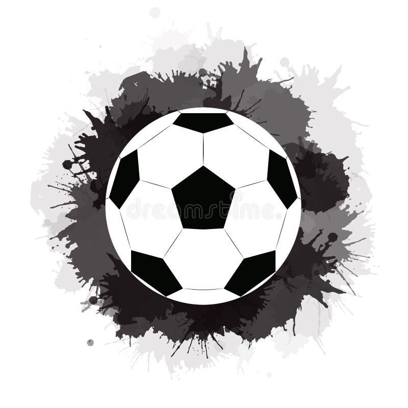 Voetbalbal met zwarte inktvlekken en waterverfplonsen Sportmateriaal vector illustratie