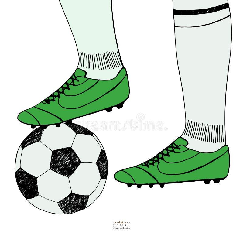 Voetbalbal onder spelervoeten op witte achtergrond Hand getrokken kleurenschets De kleuren vectorillustratie van de sportinzameli stock illustratie