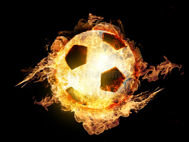 Voetbalbal op Brand royalty-vrije stock foto's