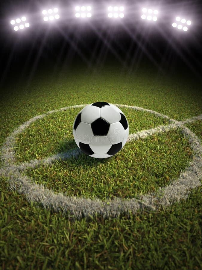 Voetbalbal op een voetbalgebied stock illustratie