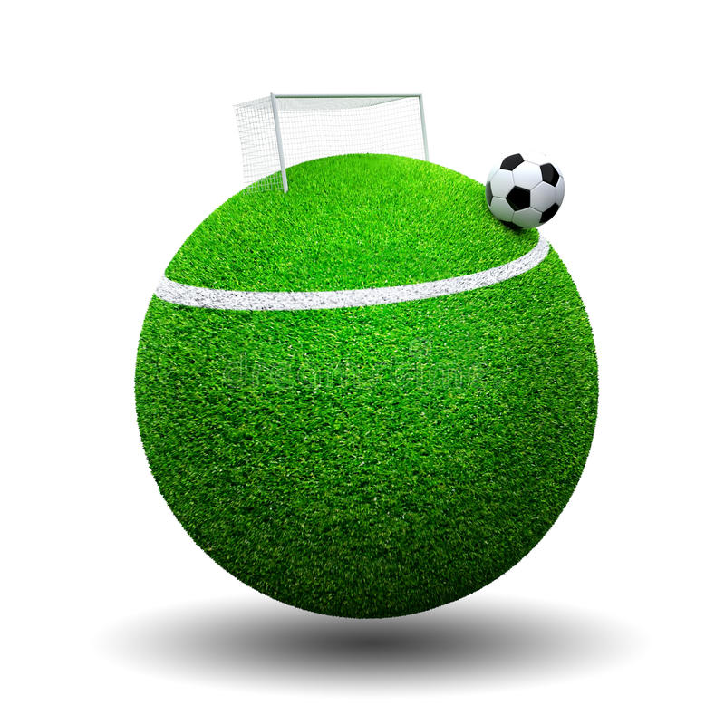 Voetbalbal op gebiedgras vector illustratie