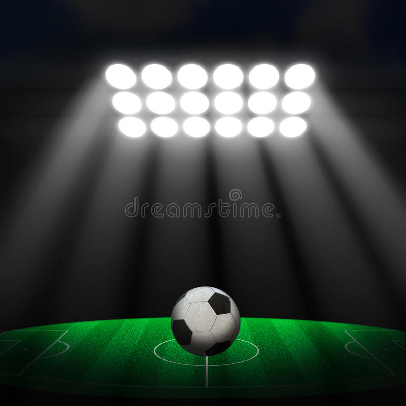Voetbalbal op groen stadion royalty-vrije stock foto