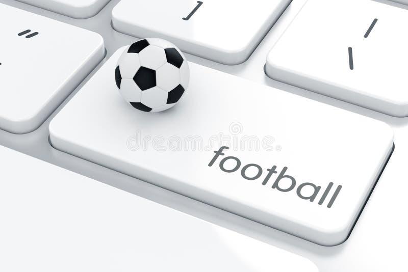 Voetbalbal op het computertoetsenbord royalty-vrije illustratie