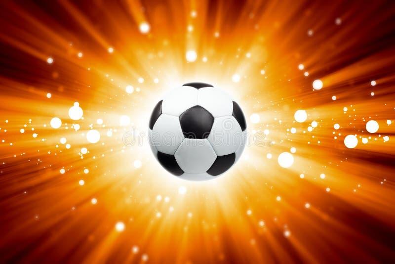 Voetbalbal, schijnwerpers stock illustratie
